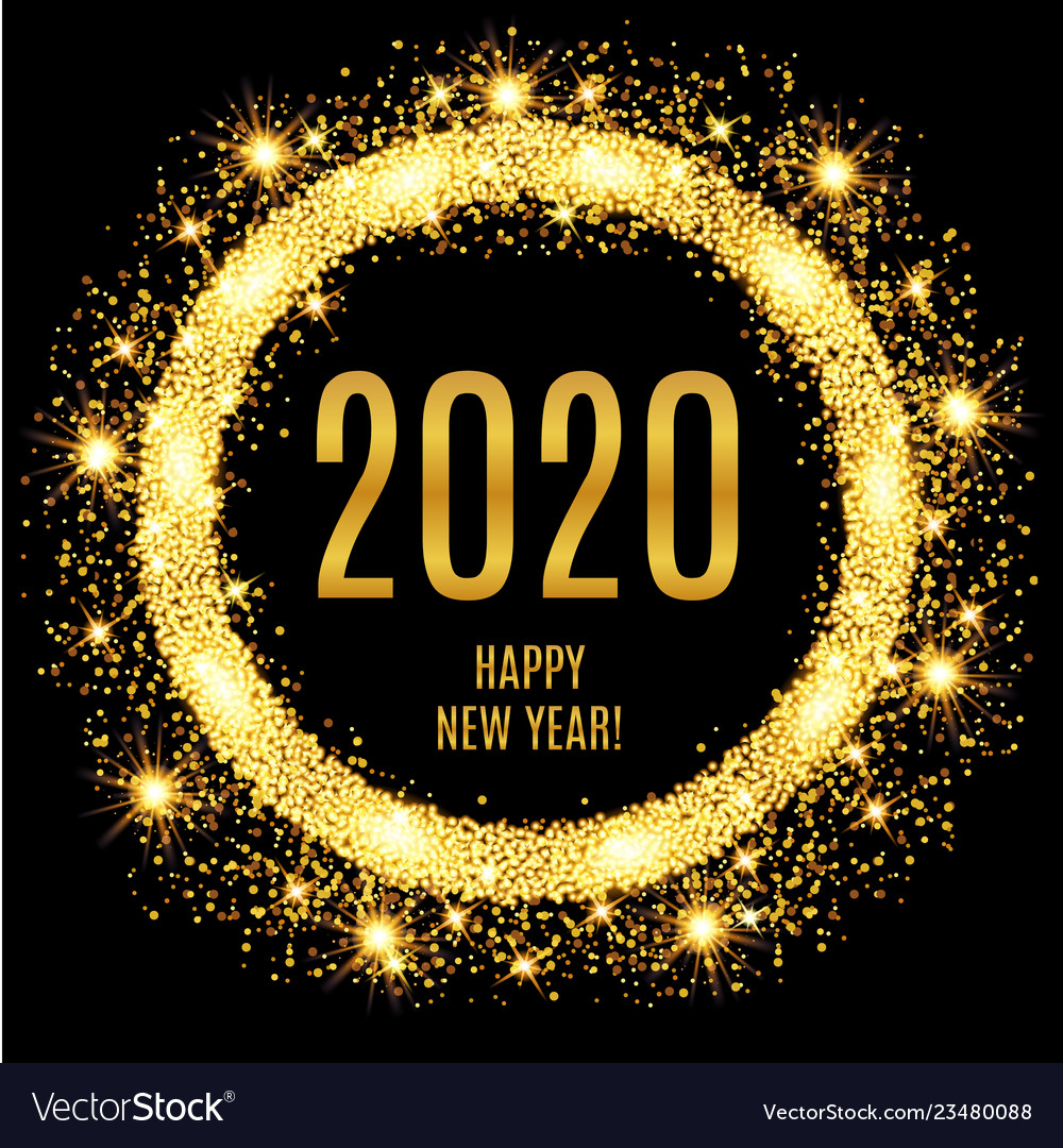 2020 happy new year glowing gold background