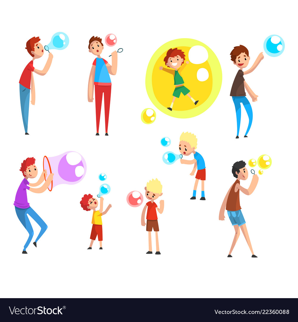 Adults and children blowing soap bubbles people