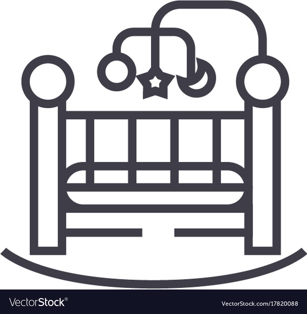 Baby bedcrib line icon sign