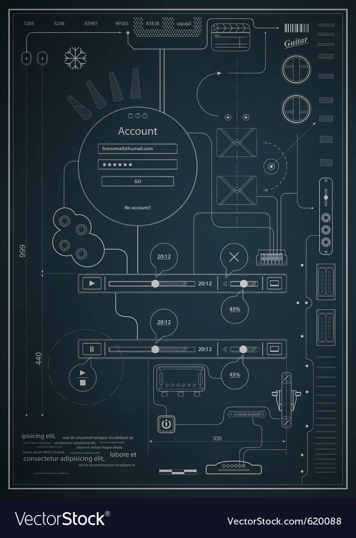 Blueprint infographics drawing a schematic abstrac