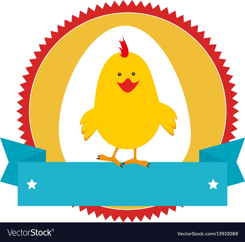 Circular stamp with silhouette chicken animal and