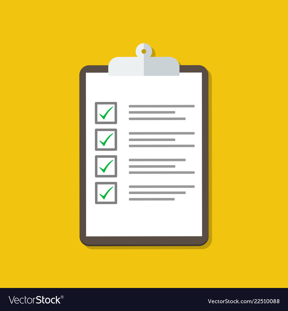 Clipboard with checklist flat design stock