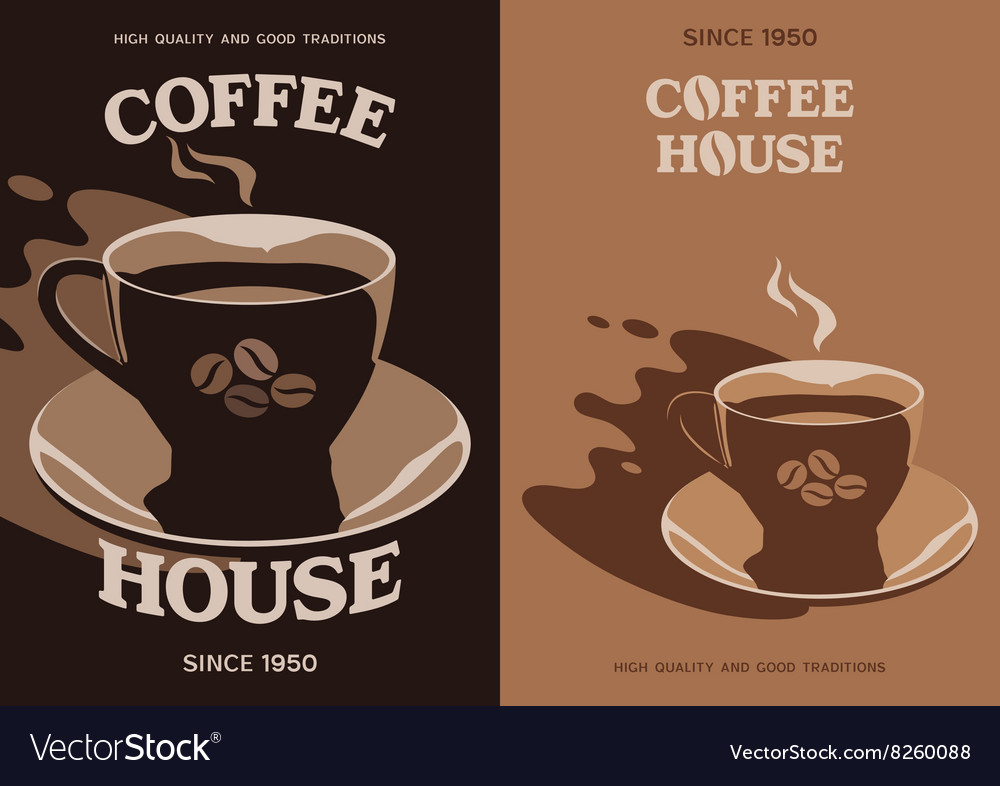 Coffee House poster design with cup and saucer
