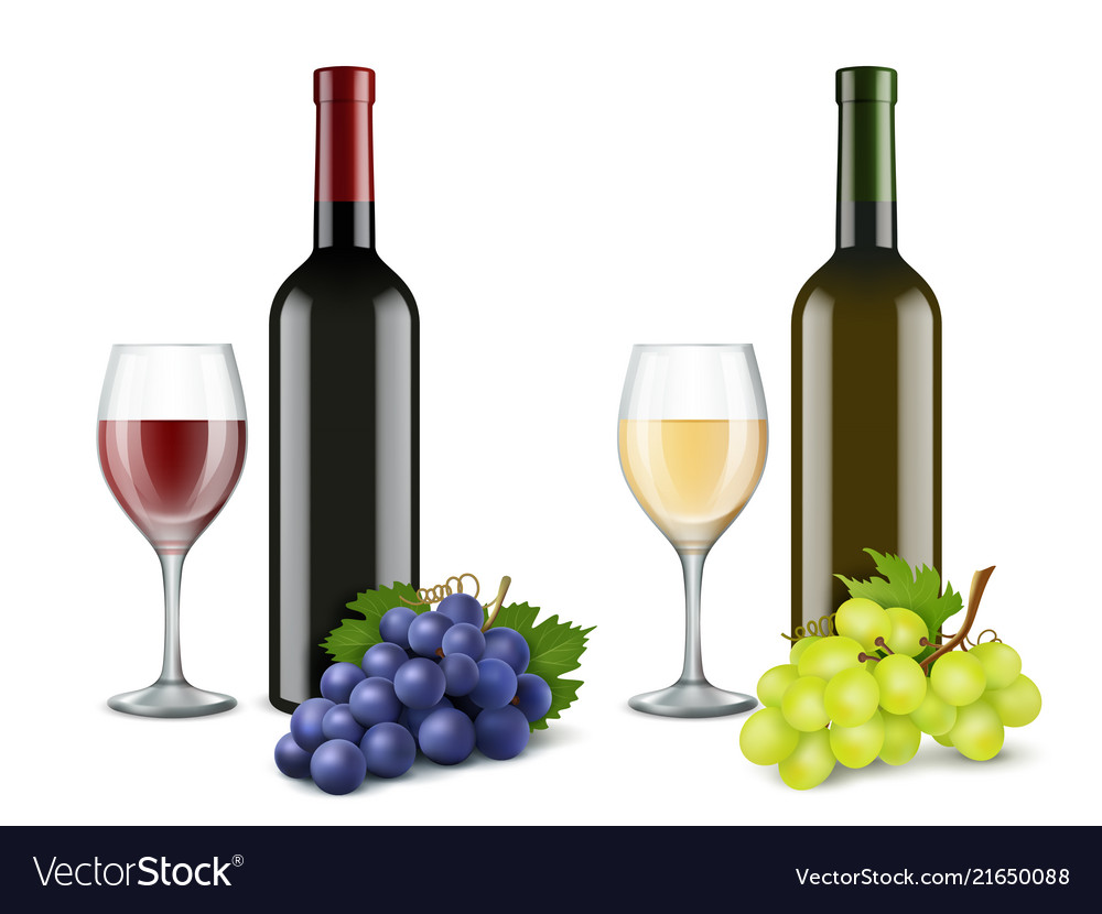 Grapes and wine glasses realistic pictures