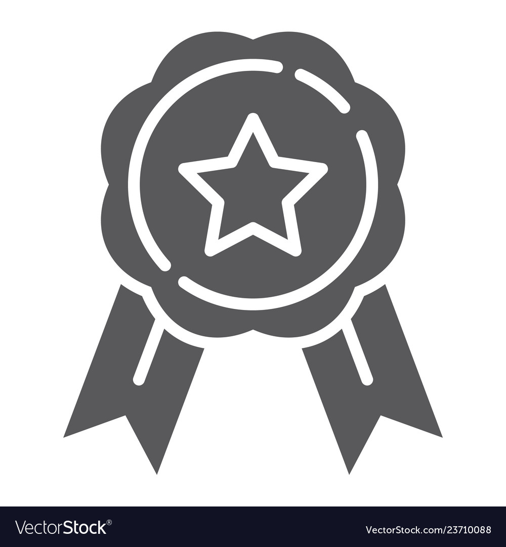 Medal glyph icon award and achievement badge