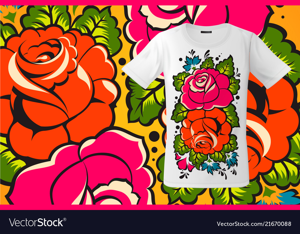 Modern t-shirt design with floral print in
