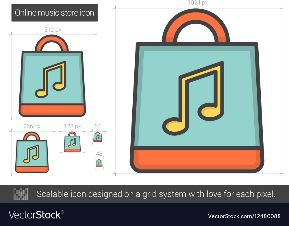 Online music store line icon