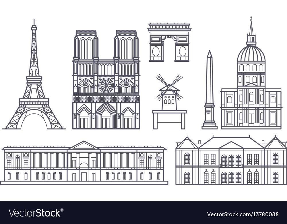 Outline paris landscape france landmarks