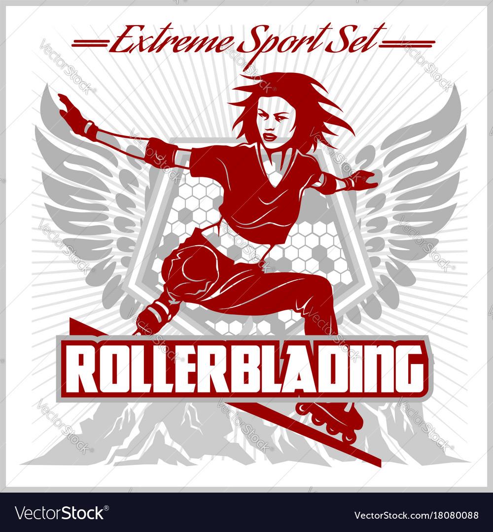 Rollerblading - emblem roller on