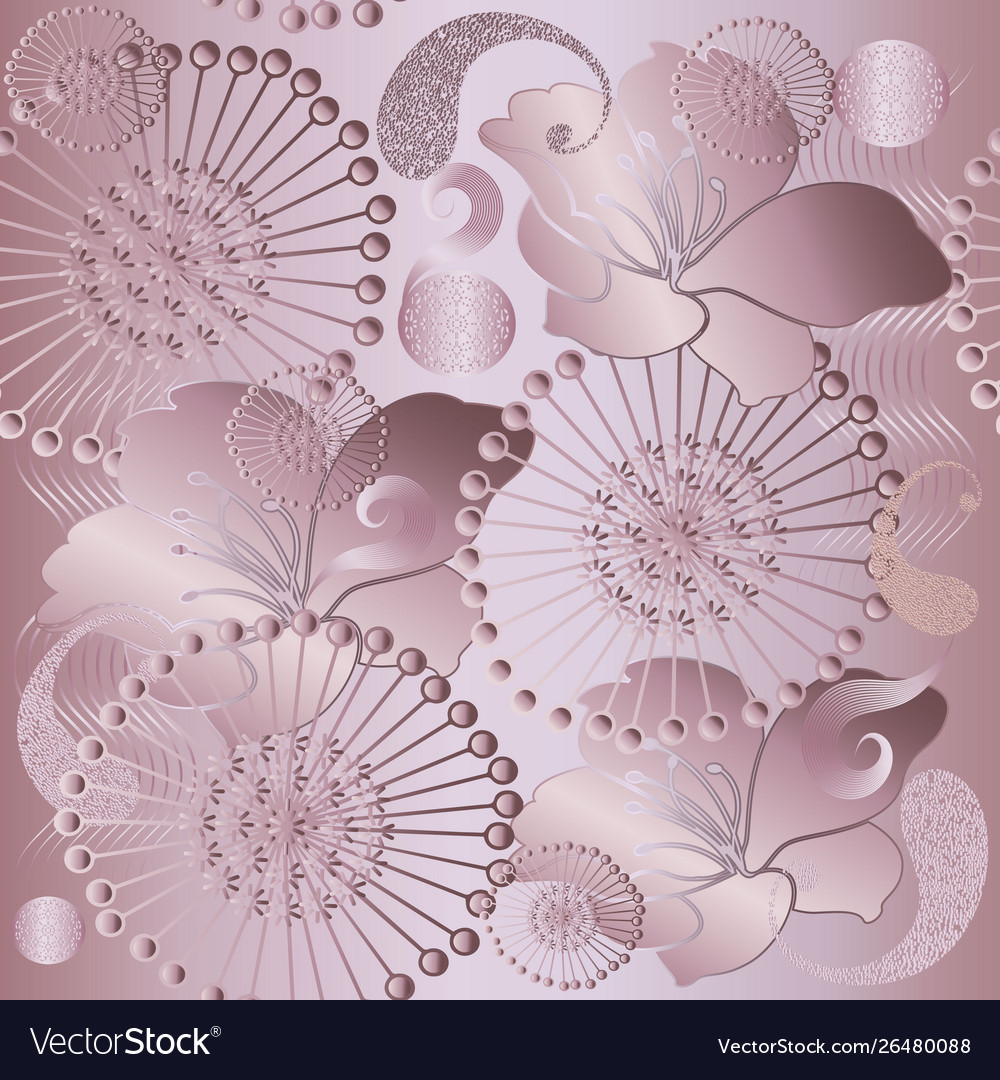 Rose Gold Floral Glittery 3d Paisley Seamless Vector Image