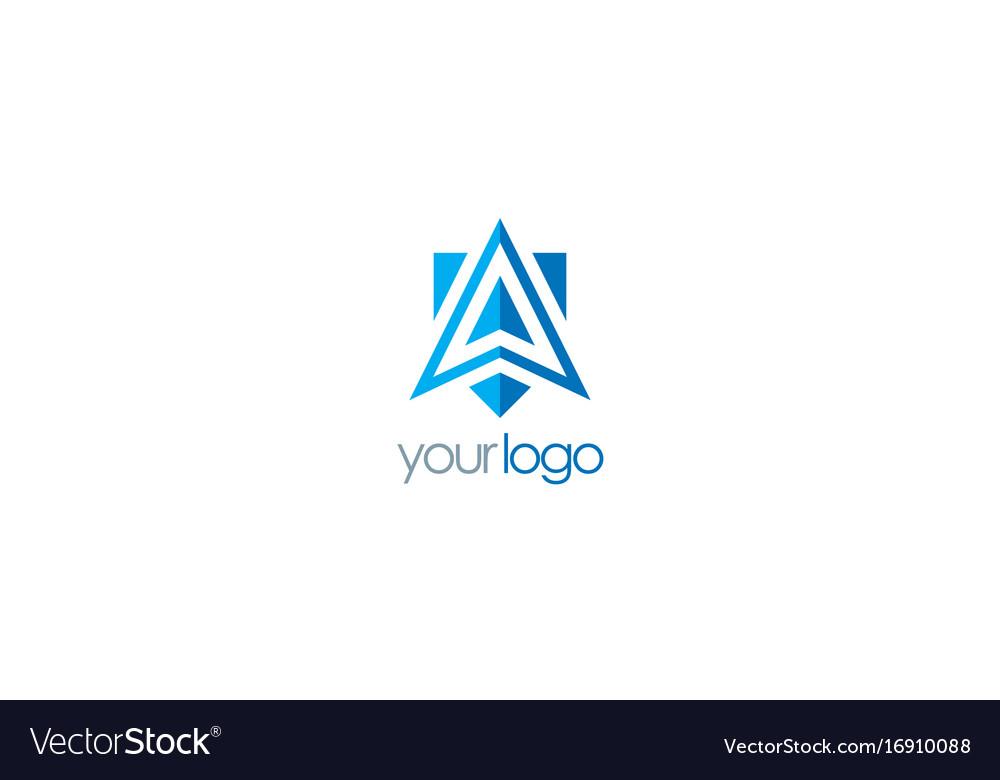 triangle arrow navigation logo royalty free vector image vectorstock