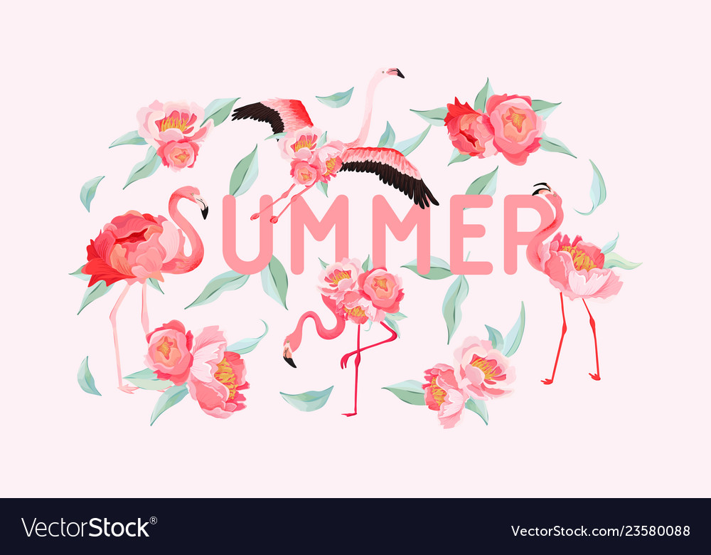 Tropical flamingo summer flyer banner with peony