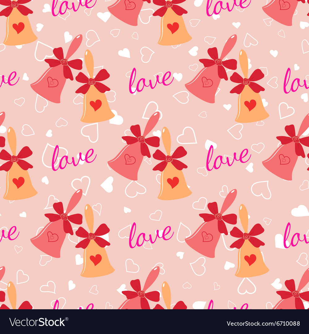Wedding seamless pattern with elegant bells with