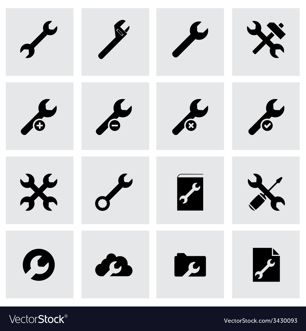 Black settings wrench icon set
