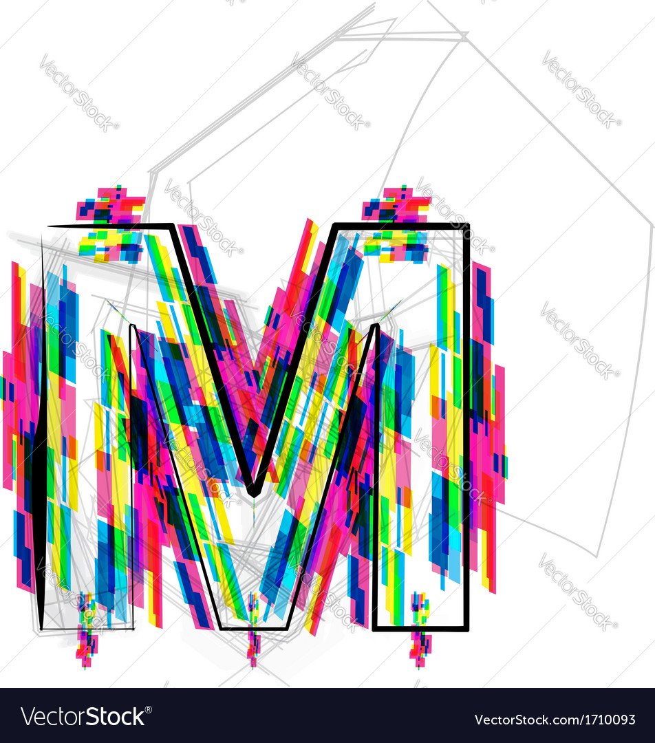 Colorful Font Letter M Royalty Free Vector Image