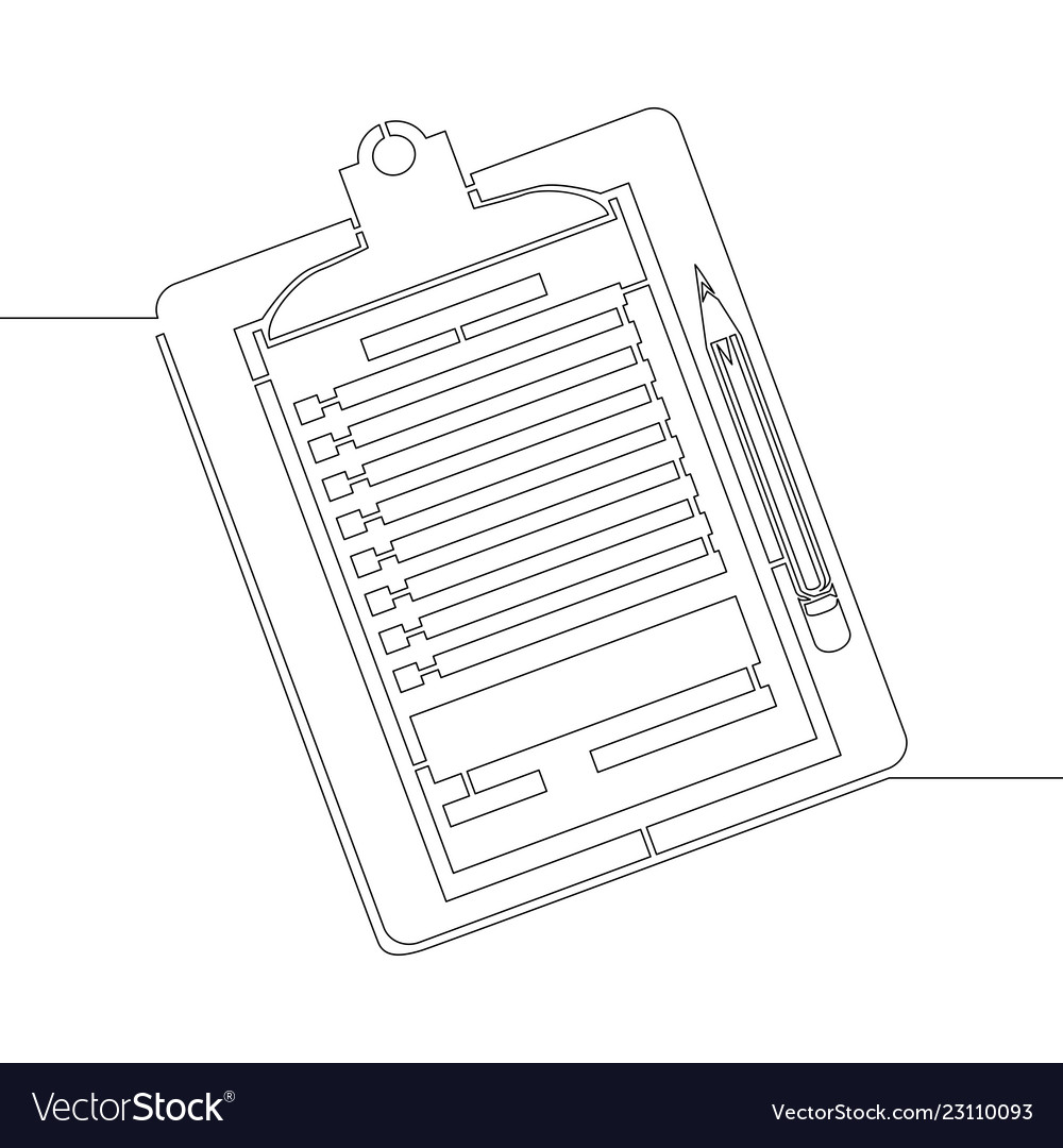 Continuous line one drawing clipboard with pencil vector image