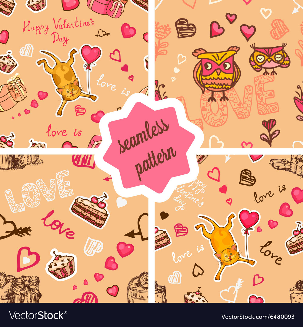 Cute valentines patterns set