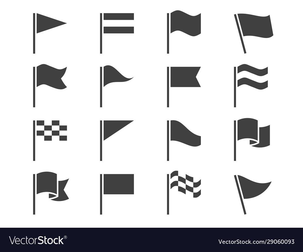 Flag icons black waving pennant symbols outline