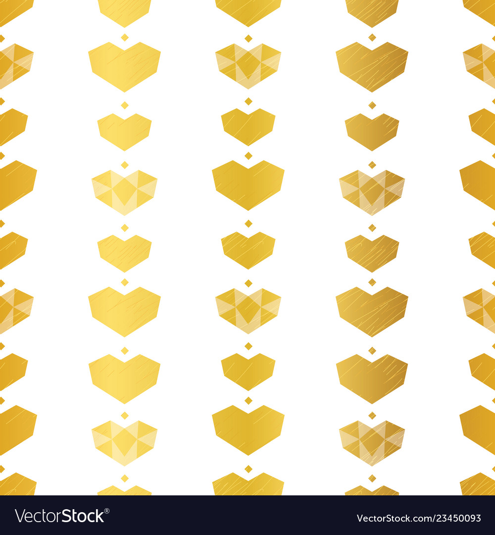 Golden yellow geometric hearts seamless pattern