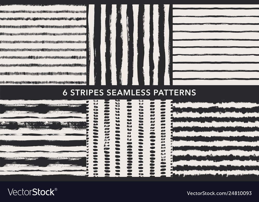 Grunge stripes hand drawn seamless patterns set