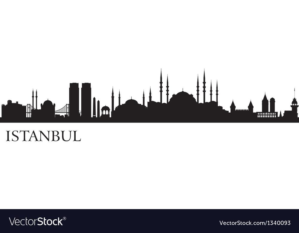 istanbul city silhouette royalty free vector image rh vectorstock com city skyline silhouette vector city skyline silhouette vector