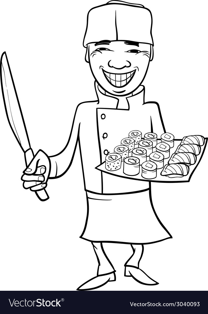 Japan sushi chef cartoon coloring page vector image