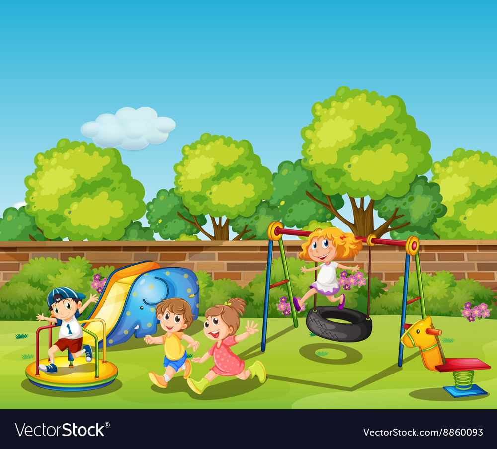 Kids playing in the playground at daytime