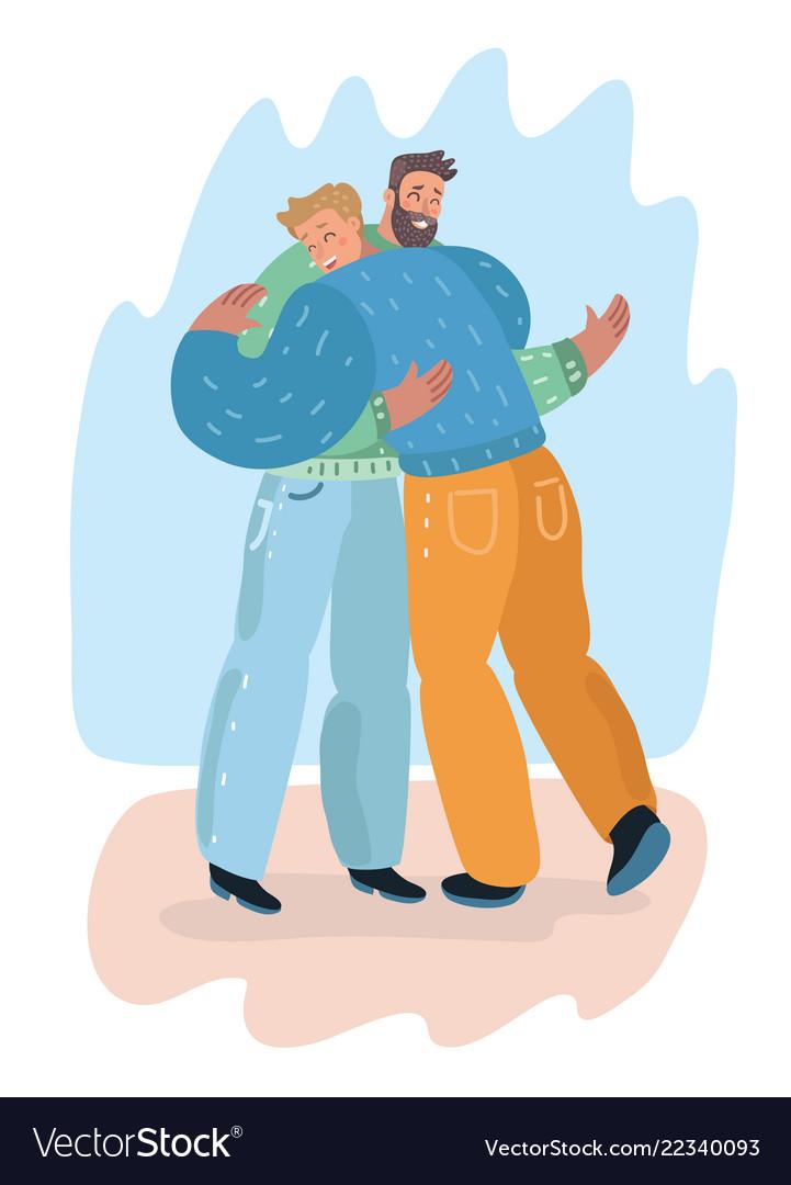 Male friendship men friends hugging each others