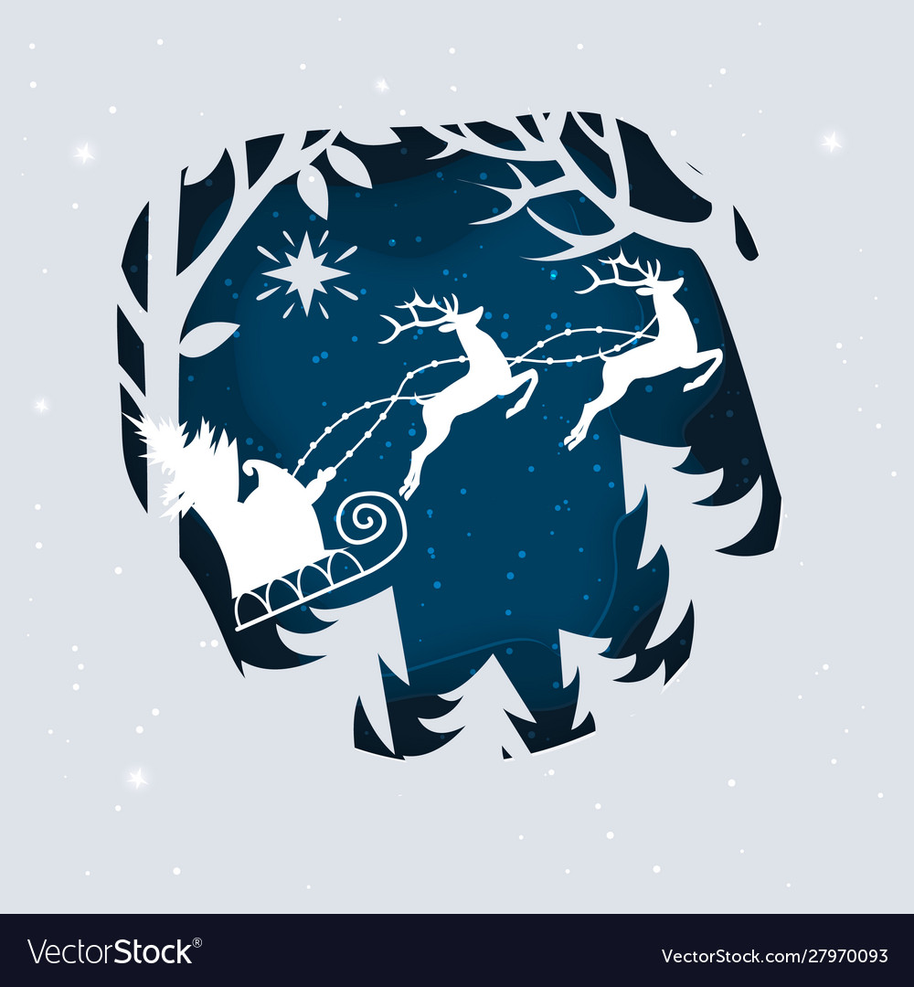 Santa claus with deer in a forest and snow paper