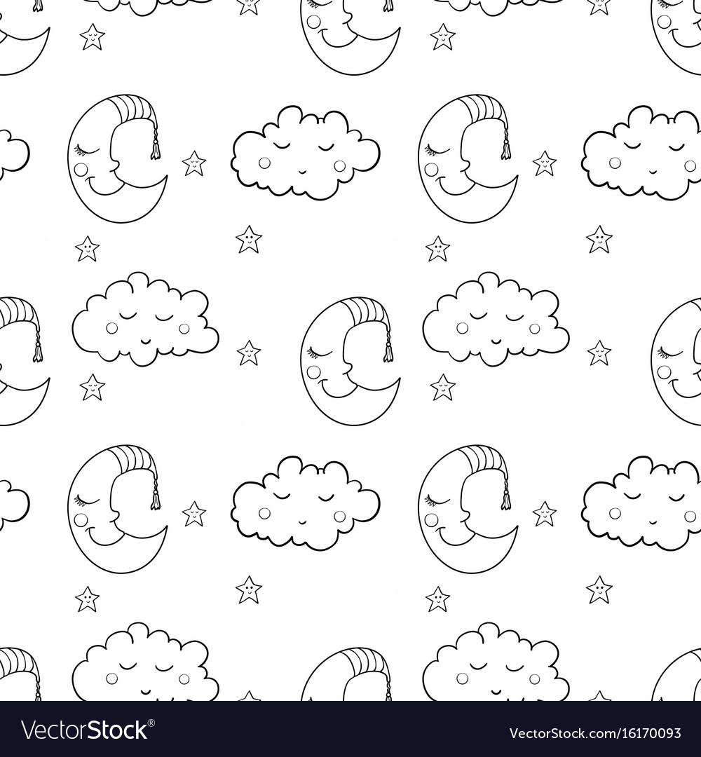 Seamless pattern with cartoon sleeping moon cloud vector image