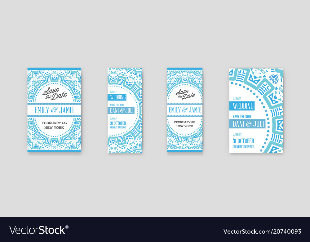 Set of design awesome wedding invitation template
