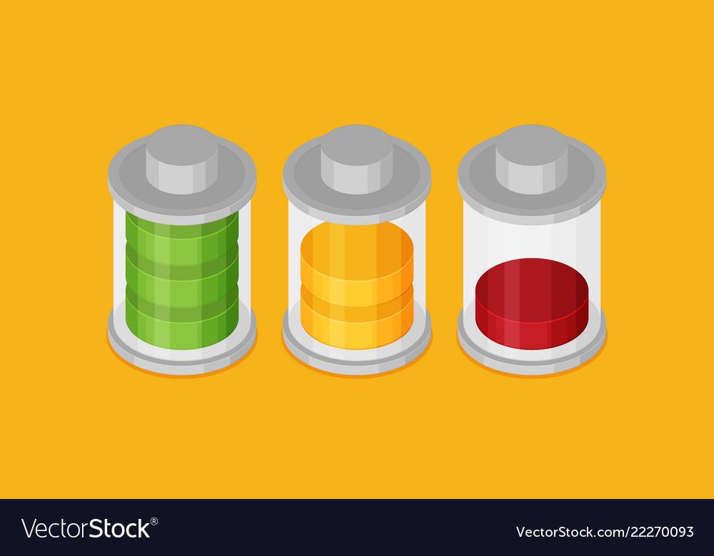 Set of stylish isometric battery charge icons