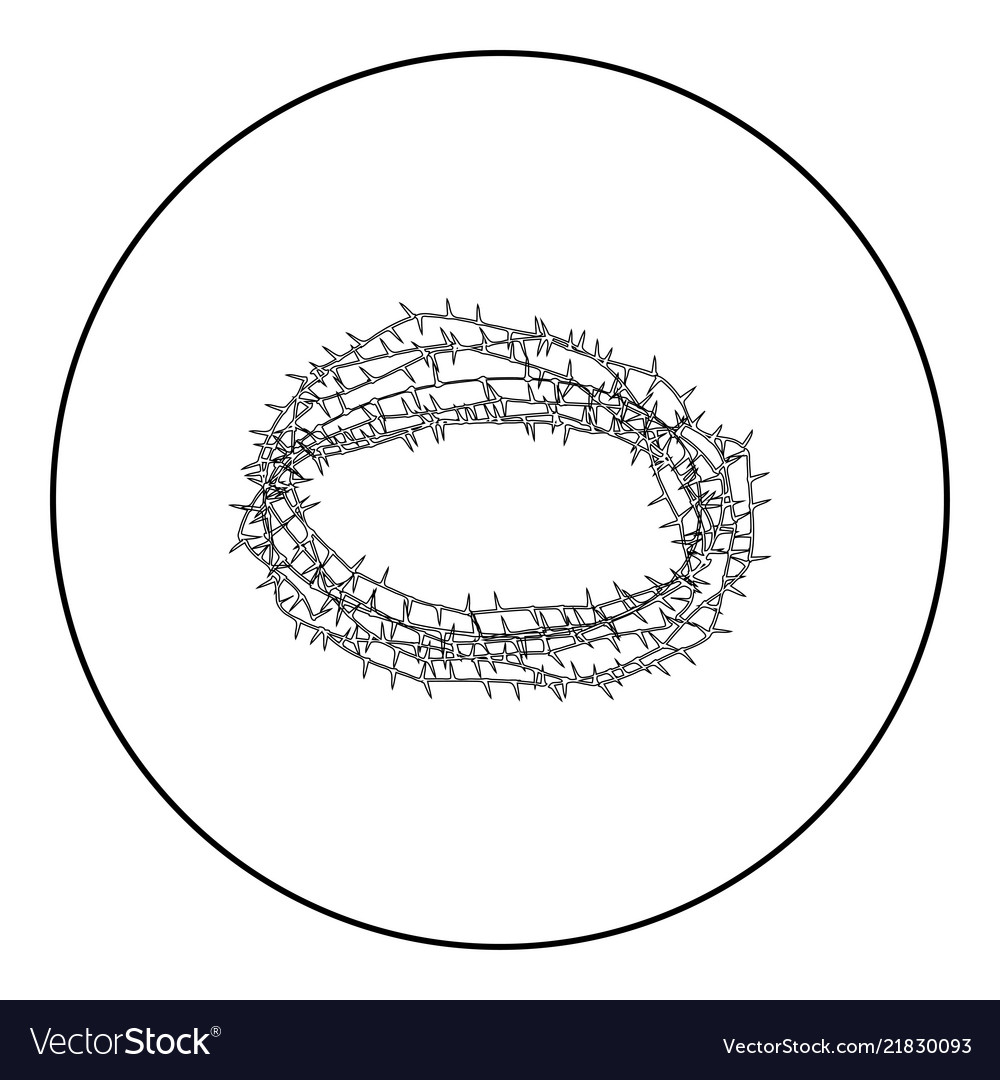 Thorn wreath or barbed wire icon black color in