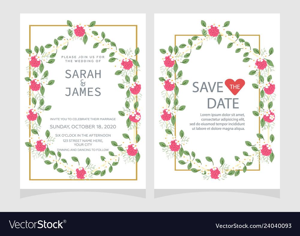 Wedding invitation card template floral invite