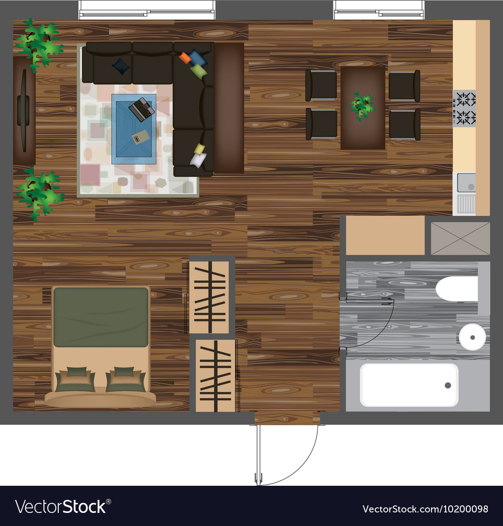 Architectural Color Floor Plan Studio Apartment