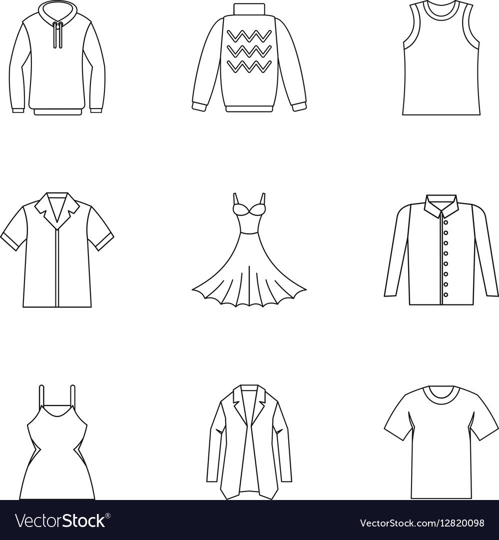 Clothing for body icons set outline style vector image
