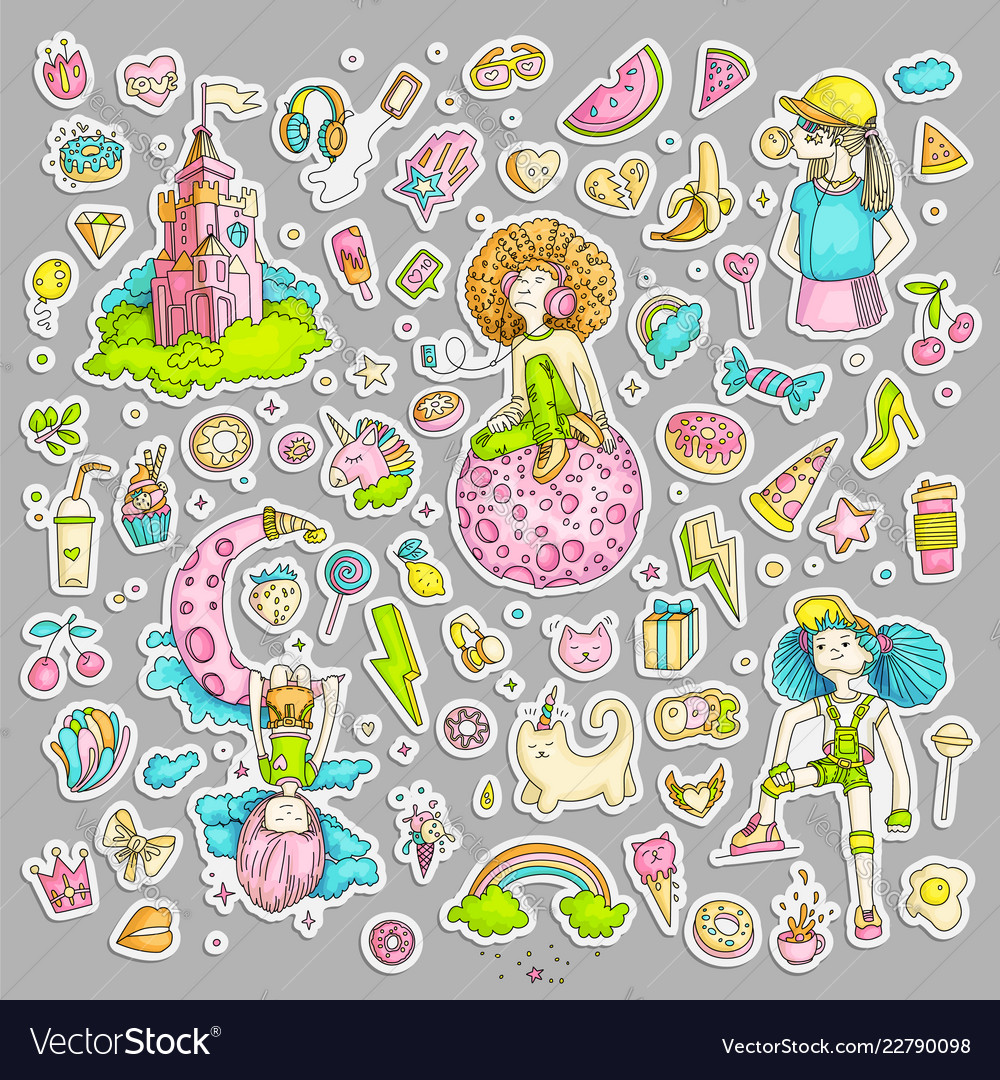 Colored Set Of Teenage Girl Stickers Cute Cartoon Vector Image