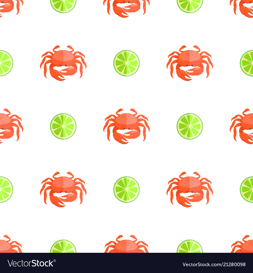 Crab and lime seamless pattern