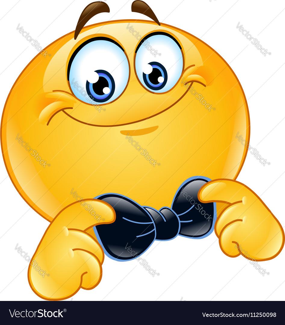 Emoticon with bow tie vector image