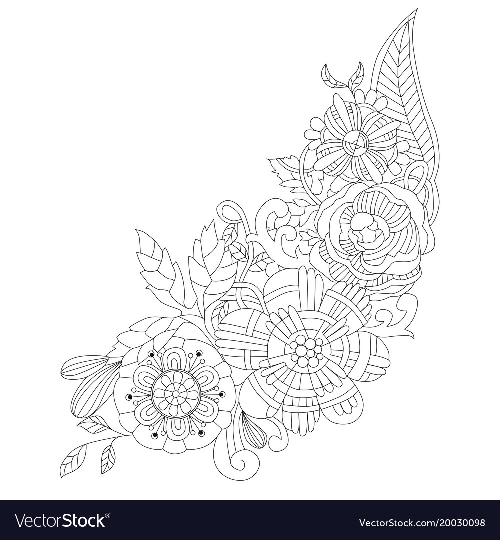 Flowers For Coloring Book Adults Vector Image