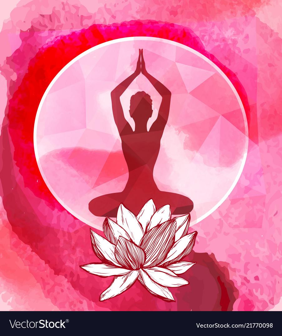 Lotus flower and female silhouette yoga emblem