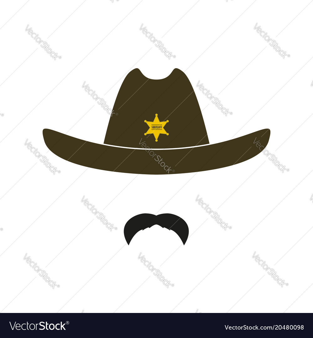 53aa33c6 Sheriff face icon isolated on white background Vector Image