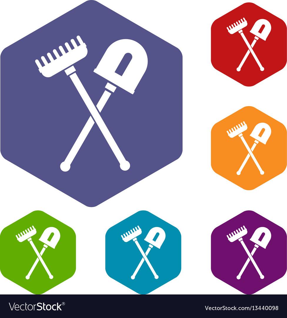 Shovel and rake icons set