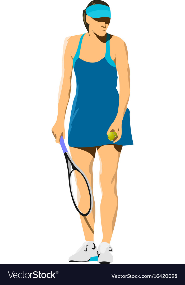 Woman tennis player poster colored for designers