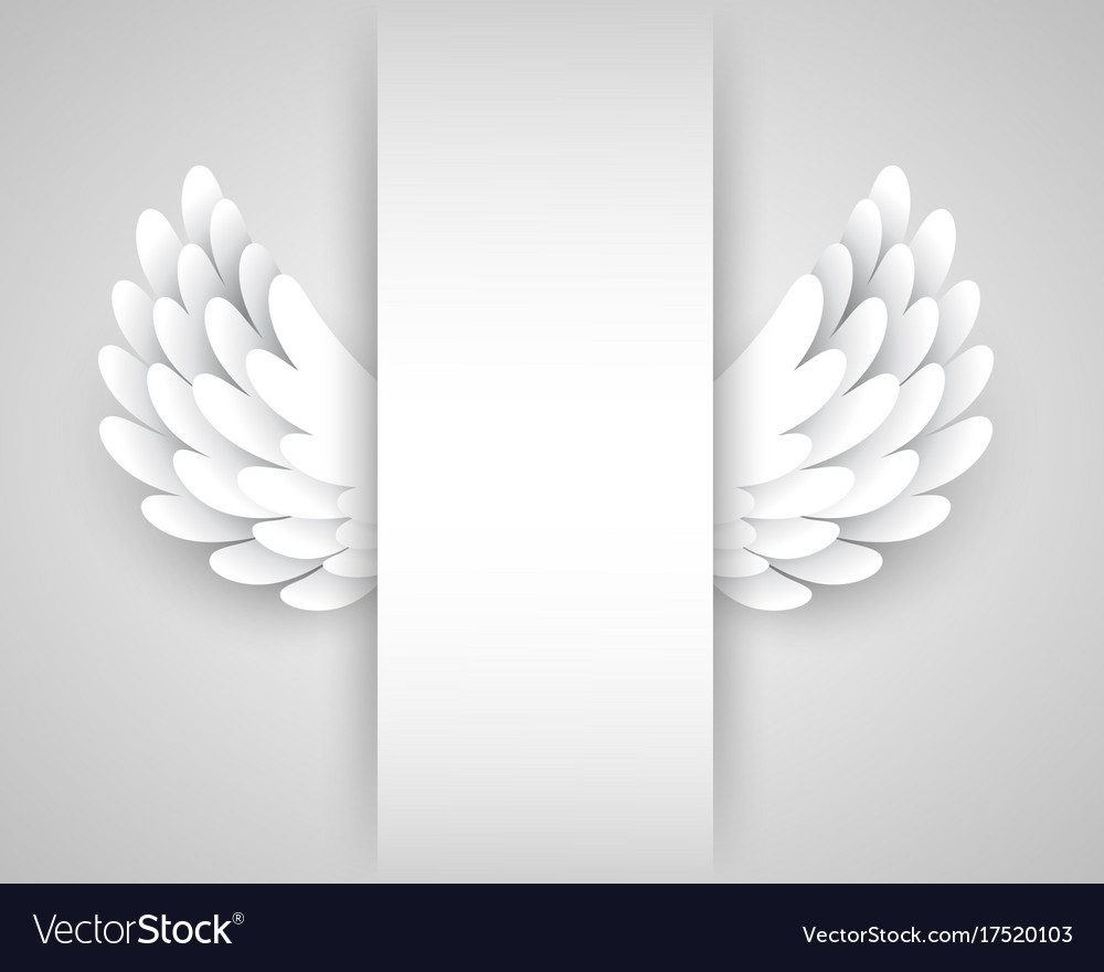 Artificial white paper wings background