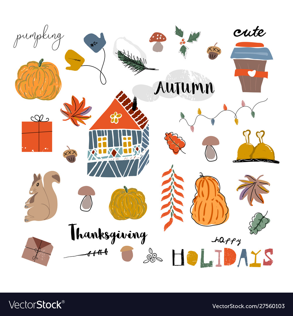 Cute autumn collection set fall harvest season