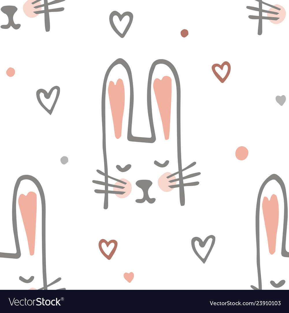 Cute cartoon baby rabbit or bunny seamless pattern
