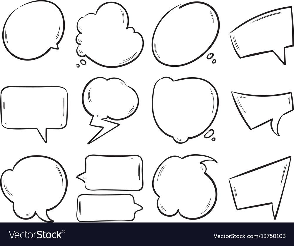 Doodle blank speech bubbles hand drawn cartoon