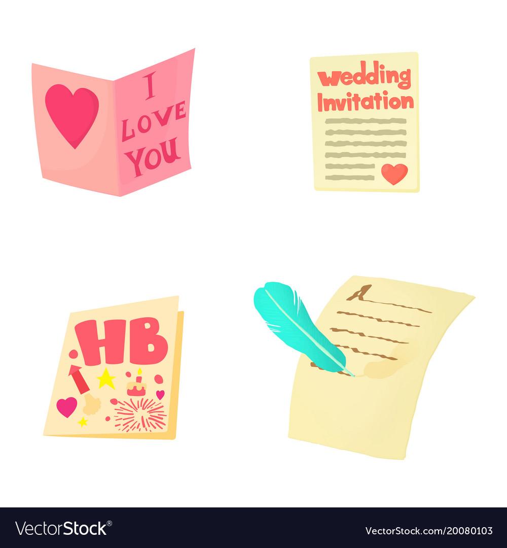 Invitation icon set cartoon style vector image