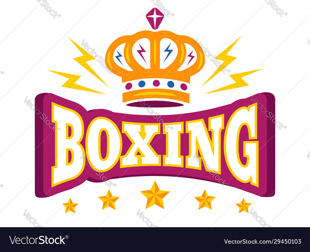 Logo with crown and stars for boxing